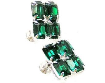 Green Rhinestone Screw On Earrings
