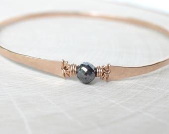 Diamond Bracelet Black Diamond Faceted Rose Gold 1.75 Carat Hammered Bangle GENUINE Diamond Bangle Bracelet Rose Gold Filled