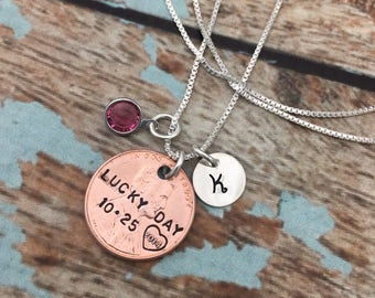 Lucky Penny Necklace, Choose Your Penny Year, Personalized, Sterling Silver Necklace with Initial and Birthstone,  Hand Stamped Jewelry
