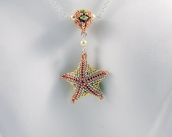 "Beaded Starfish Pendant Pearl Station Necklace Sterling Silver -  ""Mermaid's Treasure"""