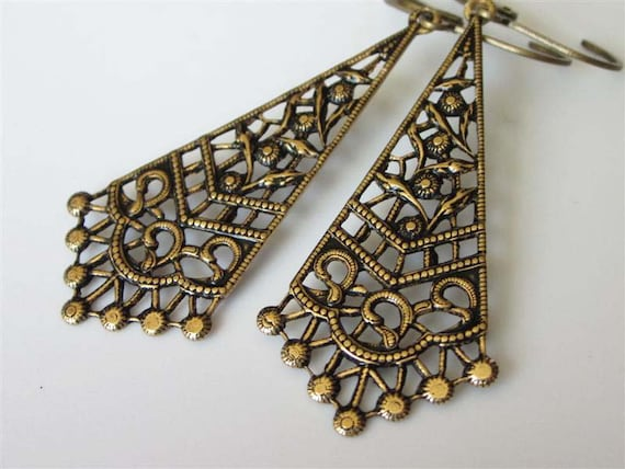 Victorian Bridal Earrings, Antiqued Gold, Floral Filigree Drop, Brass Leverback, Brass Earrings