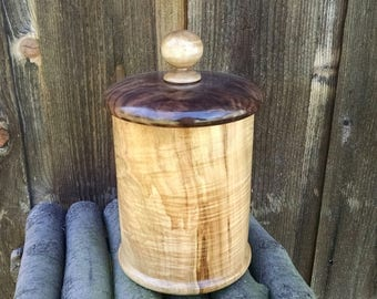 Wooden Box with Lid - Hand Turned Lidded Wood Box - Maple and Walnut Woods Wooden Box with Lid - Wood Canister