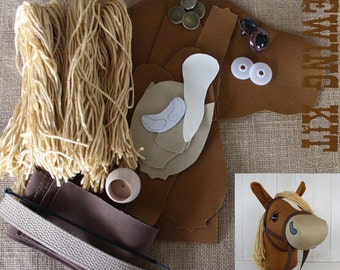 """Stick Horse Hobby Horse Mustang Collection """"Nutmeg"""" Sewing Kit Easy Sewing Project"""