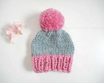 Newborn Hat/Knit Baby Hat//Hand Knit Baby Hat// Hand Knitted Baby Hat//Chunky Knit Baby Hat/Infant Beanie/Baby Beanie