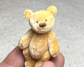 1-3/4in. Hand Sewn GOLDEN YELLOW Silk Teddy Bear