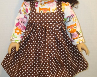 """18"""" Doll Clothes/Owl on a Limb/Jumper & turtleneck shirt/Made for 18"""" Girl Doll like American Girl/READY TO SHIP"""