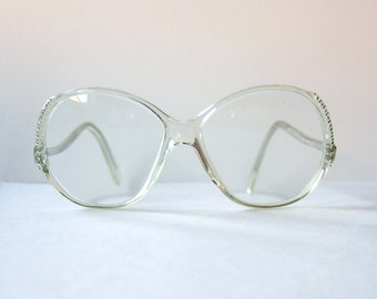 vintage 1980s rhinestone glasses womens eyeglasses clear frame glasses rhinestones clear eyeglasses mod large translucent frames