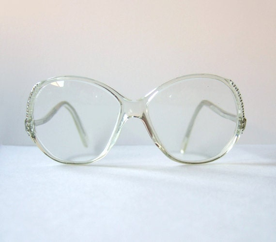 Clear Frame Glasses Boots : Vintage 1980s Rhinestone Glasses Womens Eyeglasses Clear Frame