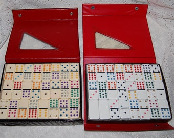 Two Sets Vintage Double 12 Color Dot Professional 91 Count Dominoes White, Ivory Hard Plastic
