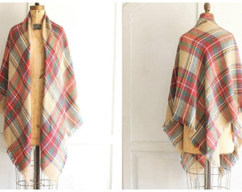 vintage plaid blanket wrap shawl soft acrylic