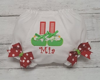 Elf Stocking and Shoes Christmas Holiday Red and Green Diaper Cover Bloomers Newborn Infant Toddlers