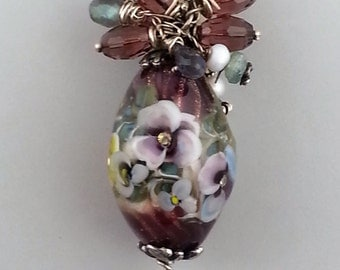 Lampwork Focal Bead Necklace Pendant- Pansies Glass Bead-  by Sand and Surf Beads