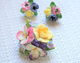 Vintage Jewelry Set Porcelain Floral Demi Parure Earrings and Brooch Made in England Signed