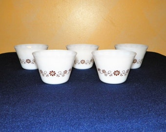 Dynaware Pyr-o-Rey Custard Cups, Set of 5 with a Brown Flower Design, Milk Glass Custard Cup, 2 1/4 Inch High, Great for Desserts