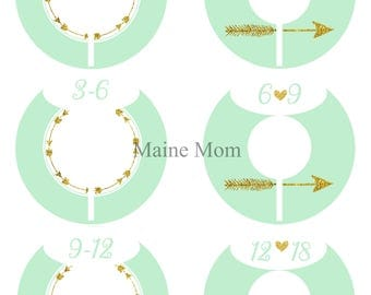 6  FULLY ASSEMBLED Closet Dividers Organizers, Baby Girl Shower Gift,  Nursery Decor, Mint, Gold Arrows,