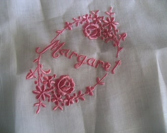 beautiful hanky embroidered with  personalized name MARGARET