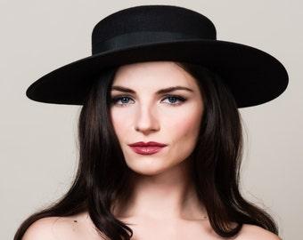 "SALE / 50% OFF Gaucho Hat. 3"" Wide Brim Black Hat. Bolero Hat. Fur Felt Boater. Charcoal with Black. Optional Veil."