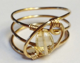 Citrine Ring  Citrine Jewelry  November Birthstone 14K Gold Filled Ring  Citrine Gold Ring  Citrine Gemstone
