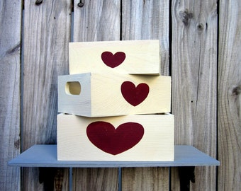 Storage Boxes, Set of Three, Whitewashed, Red Heart Design, Painted Wood, Storage Crate, Crate with Handles, Home Decor, Hand Painted
