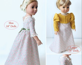 """Regency Dress and Spencer Doll Clothes Pattern as Downloadable PDF, Comes in 2 sizes: for 18"""" American Girl and slim Carpatina dolls"""