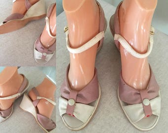 1950s Adorable SMART MAID Two Tone Peep Toe Wedges with Adjustable Ankle Straps-6.5 7 New Old Stock