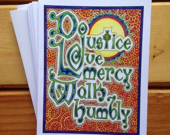 6 blank cards - do justice, love mercy, walk humbly