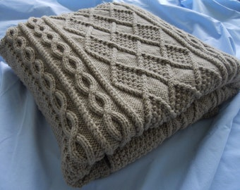 Chunky Hand Knit Blanket, Taupe 50x62
