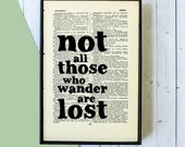 Not All Those Who Wander Are Lost - Travel Gift - Inspirational Quote - Framed Art - Typographic Print - Book Page Art - Leaving Gift
