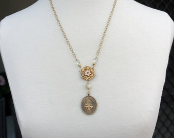 Antique Assemblage Necklace with Double Sacred Heart Religious Medallion Mother of Pearl and Gold Fill Chain