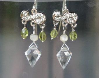 Chandelier Vintage Rhinestone Earrings with Gemstones