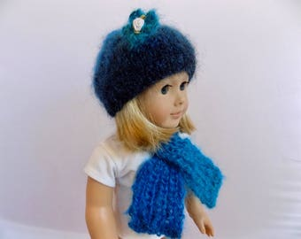 18 Inch Doll Hat and Scarf Set, Blue Doll Hat, Knit Doll Clothes, AG Doll Accessories