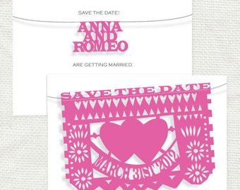 fiesta wedding save the date - diy printable tropical mexican destination wedding, papel picado banner flags bunting mexico customised party