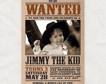 wanted poster kids birthday invitation - diy printable - wild west, cowboy party, cowgirl, customised, photo invite, country, western, farm