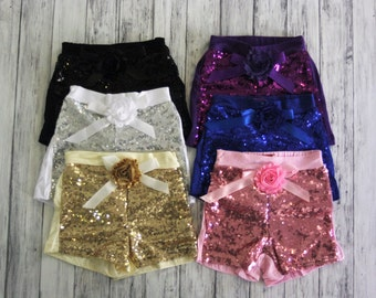 Sequin Shorts- Birthday Outfit- Girls Black Sequin Shorts- Toddler Shorts- Sequin shorts-Girls shorts-1st Birthday Outfit- Photo Shoot
