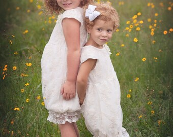 Ivory Lace Romper - Baby Romper -Flower Girl Romper - Girls Lace Outfit Romper - Vintage Romper- Ruffle Romper - Romper - Vintage inspired