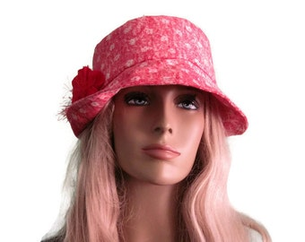Red Print Bucket Cloche Hat with Red Flower Trim