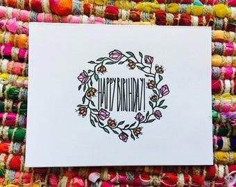 Happy Birthday Wreath Card (blank)