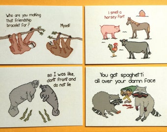 Pack of 4 - Raccoons, Manatees, Sloths, Horsey Fart Embroidery Greeting Cards