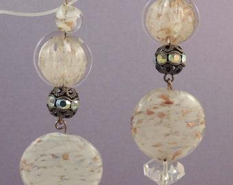 Vintage Long Drop Earrings / White Glass Disk Earrings /  White and Gold Duster Earrings / White Earrings with Rhinestones / White Earrings