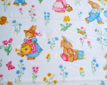 Vintage Fabric - Easter Bunny Rabbits in Spring and Summer - 44 x 54
