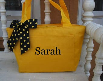 Monogrammed Yellow Insulated Lunch Bag Box Cooler Personalized Women's