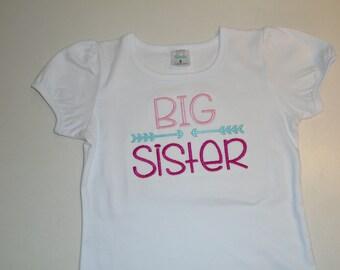 Girls Big Sister Shirt, Birth Announcement, Free Personalization