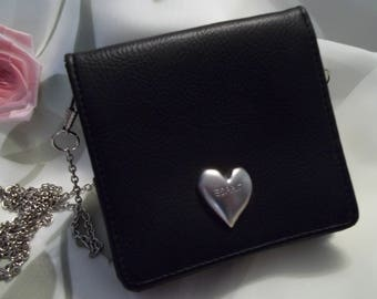 MINT Pretty Esprit Black Pebbled Leather Heart Accent Wallet / Cross Body Bag Silver Chain Strap - Womens - Vintage - Accessory
