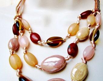 Vintage Liz Claiborne Glass Multi Strand AB Beige Brown knotted Bib Necklace 3 Strand Earthtones Golden Browns AB Tan Art Deco Retro