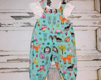 Baby Girl Woodland Animals Overalls Romper Size NB 0 3 6 9 12 18 24 Months Handmade Shower Gift Infant Birthday Fox Squirrel Hedgehog Owl