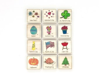 Holiday - Magnet Set of 12 - Calendar Magnets