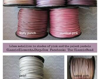 1.5mm Metallic Round Leather Cord, 1.5, Metallic Leather Cord, 1.5mm Leather, Round Leather Cord, Metallic Leather Cord, Metallic Leather