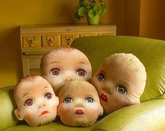 Creepy Cute Doll Head Throw Pillow - vintage doll head photo pillow - shaped novelty throw pillow - creepy doll accent pillow - 2 designs