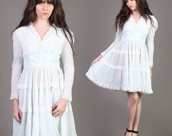 vintage GAUZE COTTON empire LACE tiered hippie wedding prairie boho mini dress 70s 1970s medium M