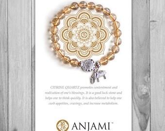 CITRINE QUARTZ Bracelet,Mala Bracelet,Beaded Bracelet,Gemstone Bracelet,Yoga Jewelry,Inspirational Jewelry,Healing Jewelry, Gift for Her